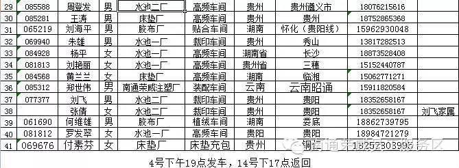 2016年南通荣威员工包车回家名单